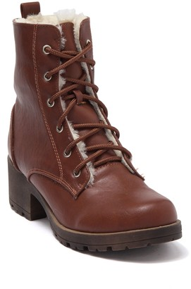 Chase & Chloe Paloma Faux Shearling Lined Combat Boot