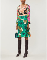 Etro Printed silk-twill midi dress