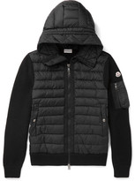 Moncler Maglione Wool-blend And Quilted Shell Hooded Down Jacket - Black