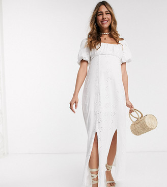 ASOS DESIGN Maternity square neck broderie prairie maxi dress in white