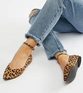 Faith Wide Fit Ally Leopard Print Pointed Flat Shoes
