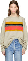 The Elder Statesman Off-white Cashmere Gofa Stripe Sweater