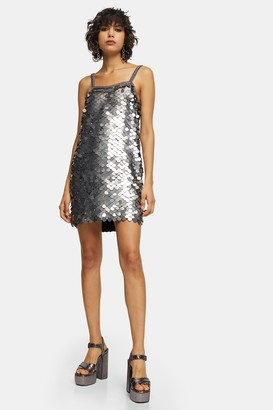 Topshop IDOL Silver Embellished Sequin Disc Slip Dress