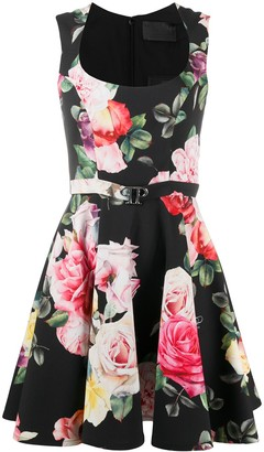Philipp Plein Short Floral Pleated Dress