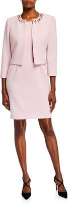 Albert Nipon Textured Crepe Pink Dress and Jacket