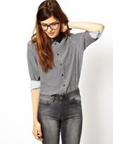 Asos Shirt with PU Collar in Tiny Check