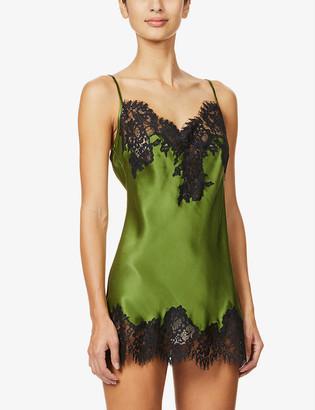 Marjolaine Lylou lace-embellished silk-satin chemise
