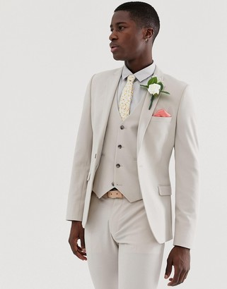 Asos Design DESIGN wedding super skinny suit jacket in dove grey