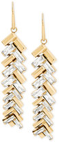 Michael Kors Gold-Tone Chevron Baguette Drop Earrings