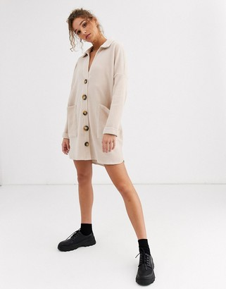 ASOS DESIGN oversized mini cord shirt dress in oatmeal