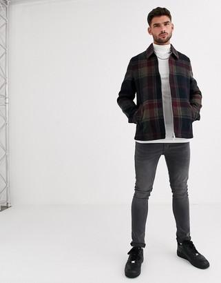 ASOS DESIGN wool mix harrington jacket in navy check
