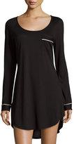 Cosabella Bella Long-Sleeve Sleepshirt, Black/Ivory
