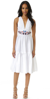 Cynthia Rowley Embroidered Twill Ruffle Dress