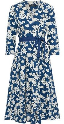 Max Mara Pleated Printed Cotton-poplin Wrap Dress
