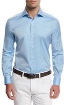 Ermenegildo Zegna Summer Chambray Long-Sleeve Sport Shirt, Light Blue
