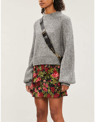 The Kooples Floral-print silk-fil coupé skirt