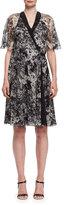 Lanvin Peony-Print Chiffon Wrap Dress, Black/White