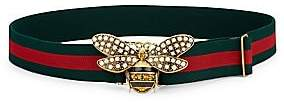 Gucci Women's Pearly Bee Buckle Sylvie Web Belt