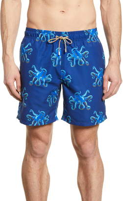 Bugatchi Octopus Print Swim Trunks