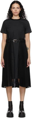 Sacai Black Pleated Belt Poplin Dress