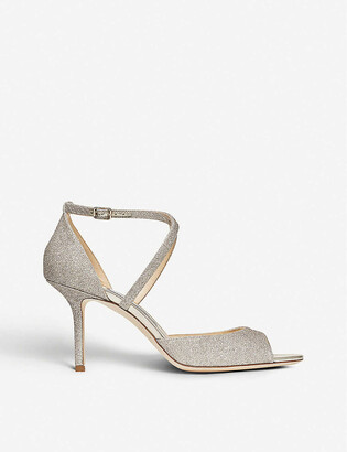 Jimmy Choo Emsy peep-toe glitter-leather heeled sandals