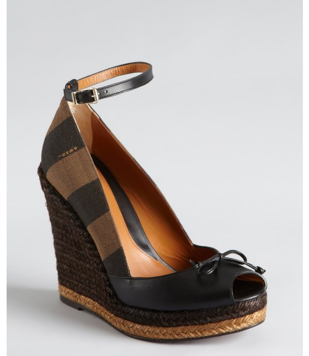 Fendi black leather and striped canvas ankle strap espadrilles