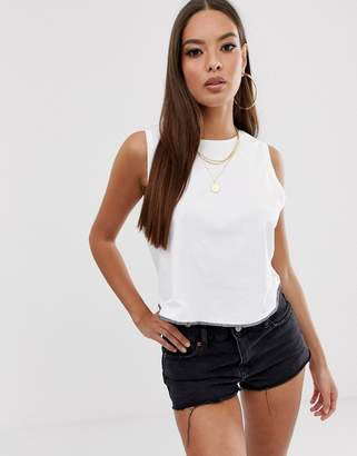 Asos Design DESIGN crop swing tank with overlocked hem in white