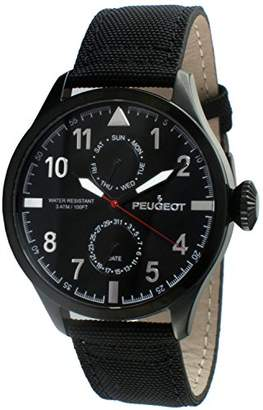 Peugeot Men's Day Date Multi-Function Aviator Weekend Watch with Nylon Band