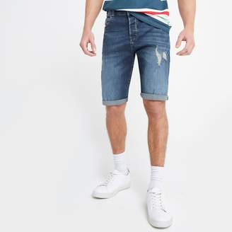 River Island Mens Only & Sons Blue ripped denim shorts