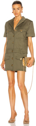 Balmain Cargo Denim Shirt Dress in Olive | FWRD