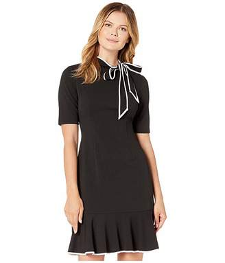 Adrianna Papell Knit Crepe Tie Neck Flounce Dress
