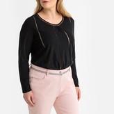 Castaluna Plus Size Linen/Cotton Spoke Stitched T-Shirt