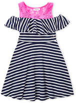 Juicy Couture Girls 7-16) Stripe Cold Shoulder Skater Dress