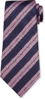 Ermenegildo Zegna Men's Herringbone Stripe Silk Tie