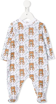 MOSCHINO BAMBINO Logo Bear Print Long-Sleeve Pajamas