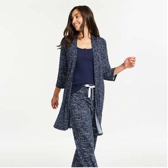 Joe Fresh Women's Print Robe, Dark Navy (Size XS)