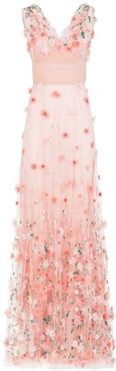Dolce & Gabbana Flower-Embroidered Tulle Long Dress