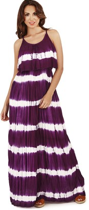 Dannii Matthews Stunning Ladies Striped Strappy Pleated Tie Dye Maxi Dress