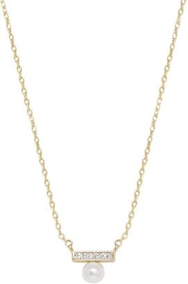 Ettika Pave Bar & Imitation Pearl Pendant Necklace