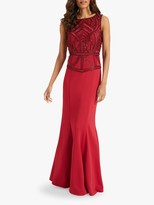 Phase Eight Hilda Beaded Fishtail Maxi Dress, Red