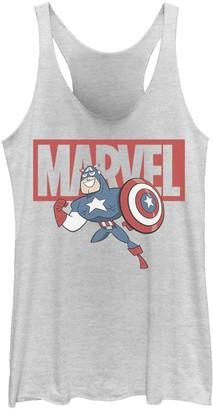 Marvel Juniors' Captain America Chibi Action Pose Logo Outline Tank Top