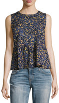 Current/Elliott The Peplum Tank Top, Floral Field (Blue)