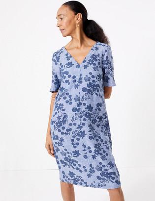 Marks and Spencer Linen Blend Floral Print Shift Dress