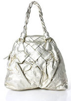 Valentino Garavani Metallic Ivory Leather Gold Accent Medium Satchel Handbag