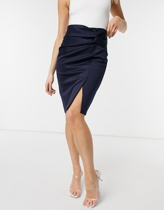 Closet London twist front knee length pencil skirt in navy