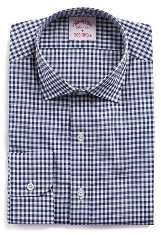 Hamilton White and Navy Gingham Check Poplin Shirt