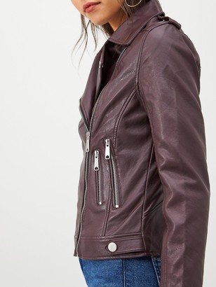 Very Faux Leather PU Jacket - Oxblood
