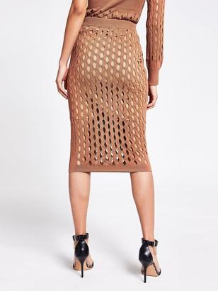 River Island Mesh Co-ord Skirt - Tan