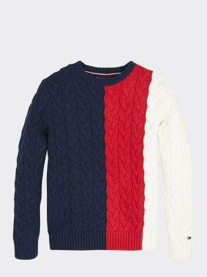 Tommy Hilfiger Colour-Blocked Cable Knit Jumper
