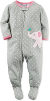Carter's Baby Girls' 1-Pc. Dot-Print Elephant Footed Pajamas
